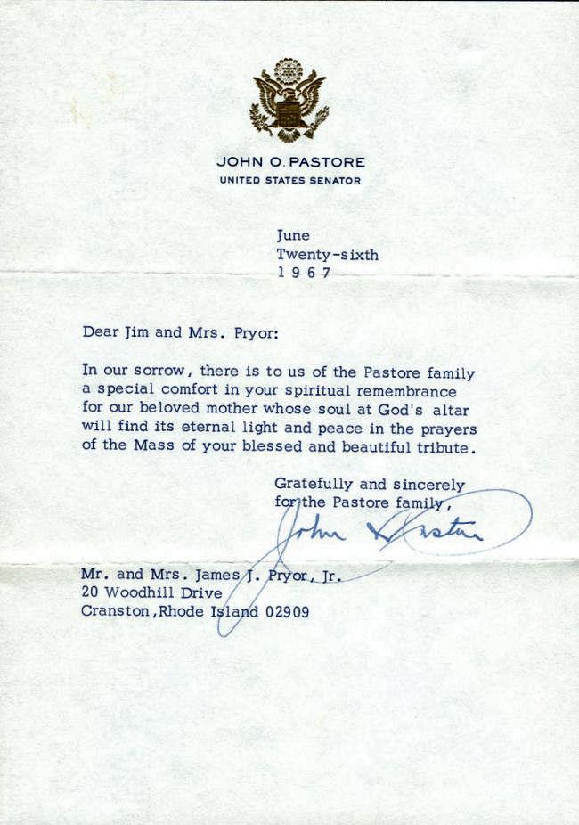 signed letter - senator john o  pastore