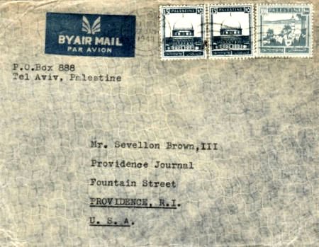 Rhode Island International Mail - 1948 Cover from Palestine