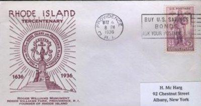 Rhode Island Tercentenary Stamp
