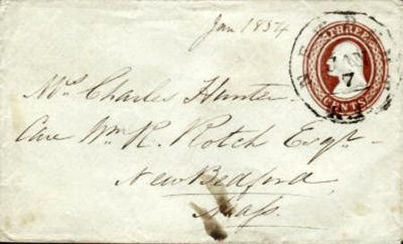 Rhode Island Embossed Stationary - Scott #U1 Issued 1853